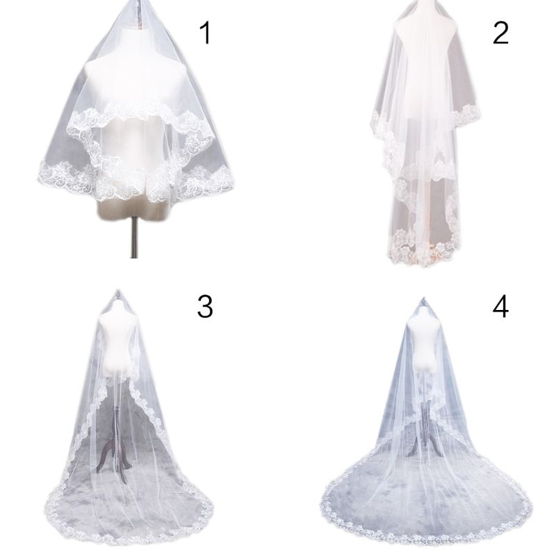 1.5/2/3/5M 1 Layer Women Bridal White Ultra Long Wedding Tulle Veil Wide Embroidered Hexagonal Floral Applique Edge Marriage