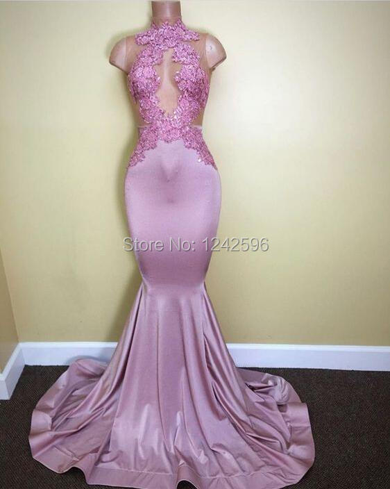 Mermaid Pink Prom   Dresses   For Black Girls Long 2019 High Neck See Through Appliques Lace African   Evening     Dresses   Sweep Train