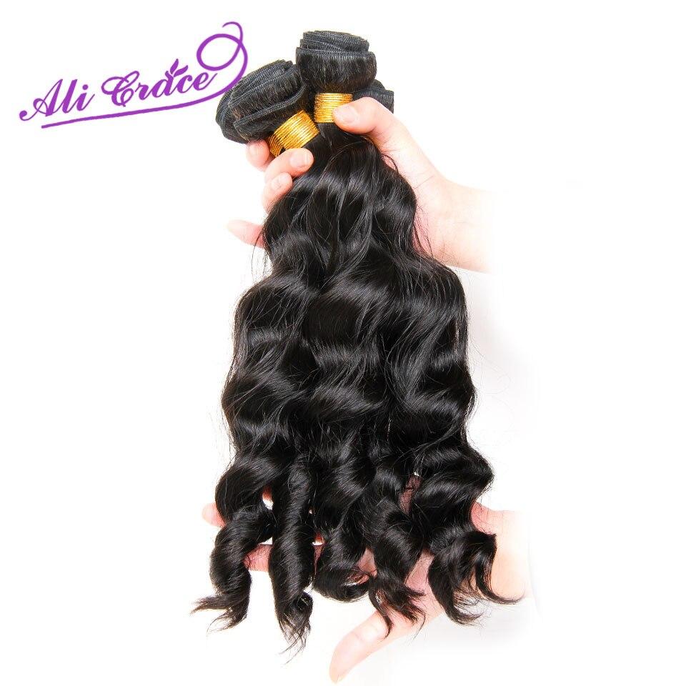 ALI GRACE Hair Peruvian Loose Human Hair 3 Bundles Deal 10 28inch Hair Weave Natural Color