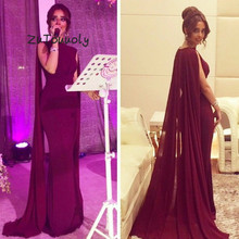 Dubai árabe Borgoña vestido de noche con capa elegante Oriente Medio vestidos sirenas para graduación 2019 musulmán alfombra roja vestidos de fiesta económicos