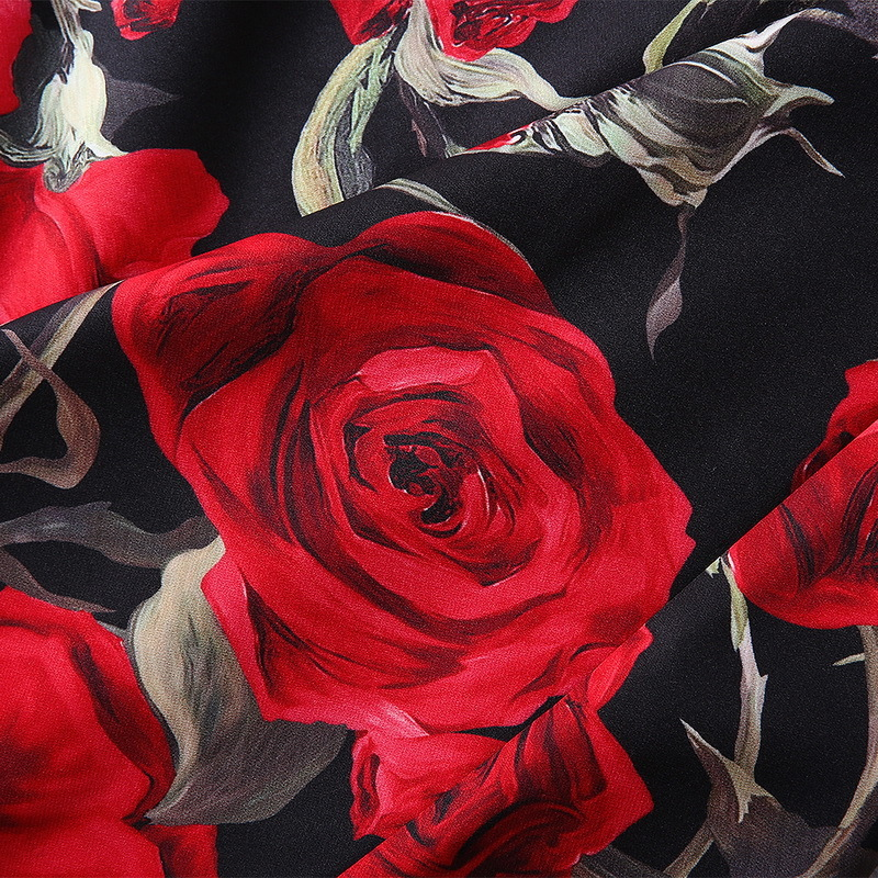 Modèle Dessus Mode robe Du Impression Automne Costume De Dame Genou Manches Longues 2018 Qualité Robe Nouveau Rose SFxEwqnxCa