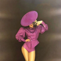 Festival Outfit Bodysuit Big Hat Women Nightclub Singer Dance Costume Teams Catwalk Stage Wear Bar Jazz DJ Pole Dancing Jumpsuit