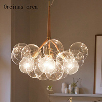 Nordic post modern minimalist transparent glass chandeliers dining room living room bar Creative art Chandelier free shipping