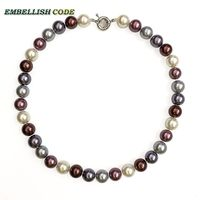 Champagne Coffee Dark Grey 12mm Mixed Color Good Quality Sea Shell Mother Pearls Necklace Perfect Round