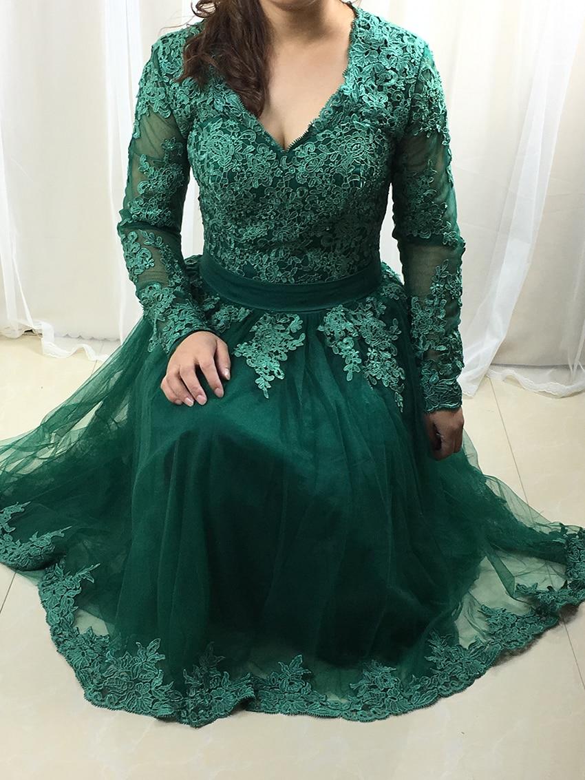 Elegant 2018 Women   Prom     Dresses   Short Blue Lace Tulle Party   Dresses   Long Sleeve   Prom   Gown Tea Length