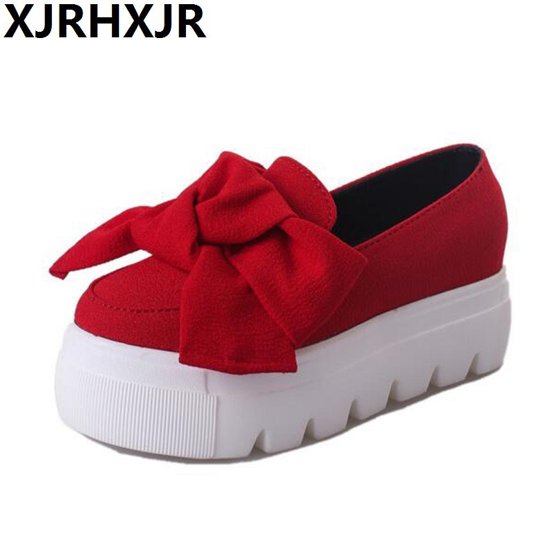 2017 Autumn Spring Moccasin Womens Flats Fashion Creepers Shoes Bow Lady Flats Loafers Ladies Slip On Platform Shoes 5CM women shoes slip on womens flats shoes loafers faux suede womens ballerina flats casual comfort ladies shoes plus size 35 43