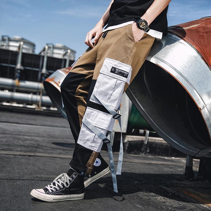 Japanese Cargo Pants Mens Big Pockets Ribbons Color Patchwork Casual Pant Hip Hop Streetwear Jogger Trousers Men