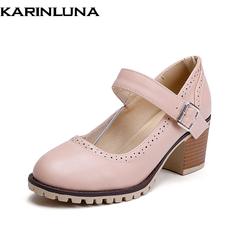 KarinLuna on sale large size 34 43 buckle strap chunky Heels women Shoes Woman Office lady Pumps apricot pink light blue shoes