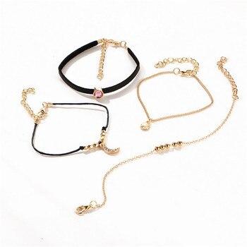 AY Bohemian Crystal Beads Anklet Set For Women Moon Pendant Bracelet on the Leg Jewelry 3
