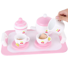 Childrens wooden kitchen simulation toys mini coffee tea set DIY afternoon childrens boys and girls gifts