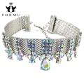 2017 luxo choker de cristal colar embutidos grânulos de charme de metal handmade ampla cadeia colar apelativo jóias mulheres nk825