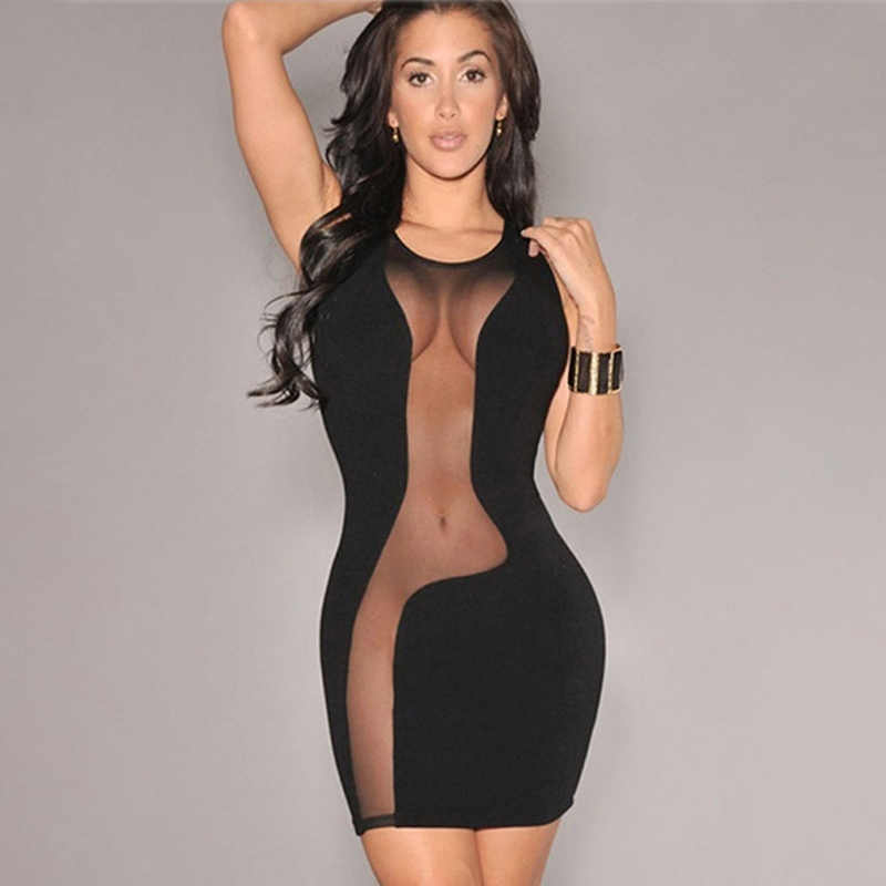 Hot Summer Sexy Women Dress  Sexy Transparent Mesh Stitching Package Hip Dress Women O-neck Hollow Out Stitching Mini Dress
