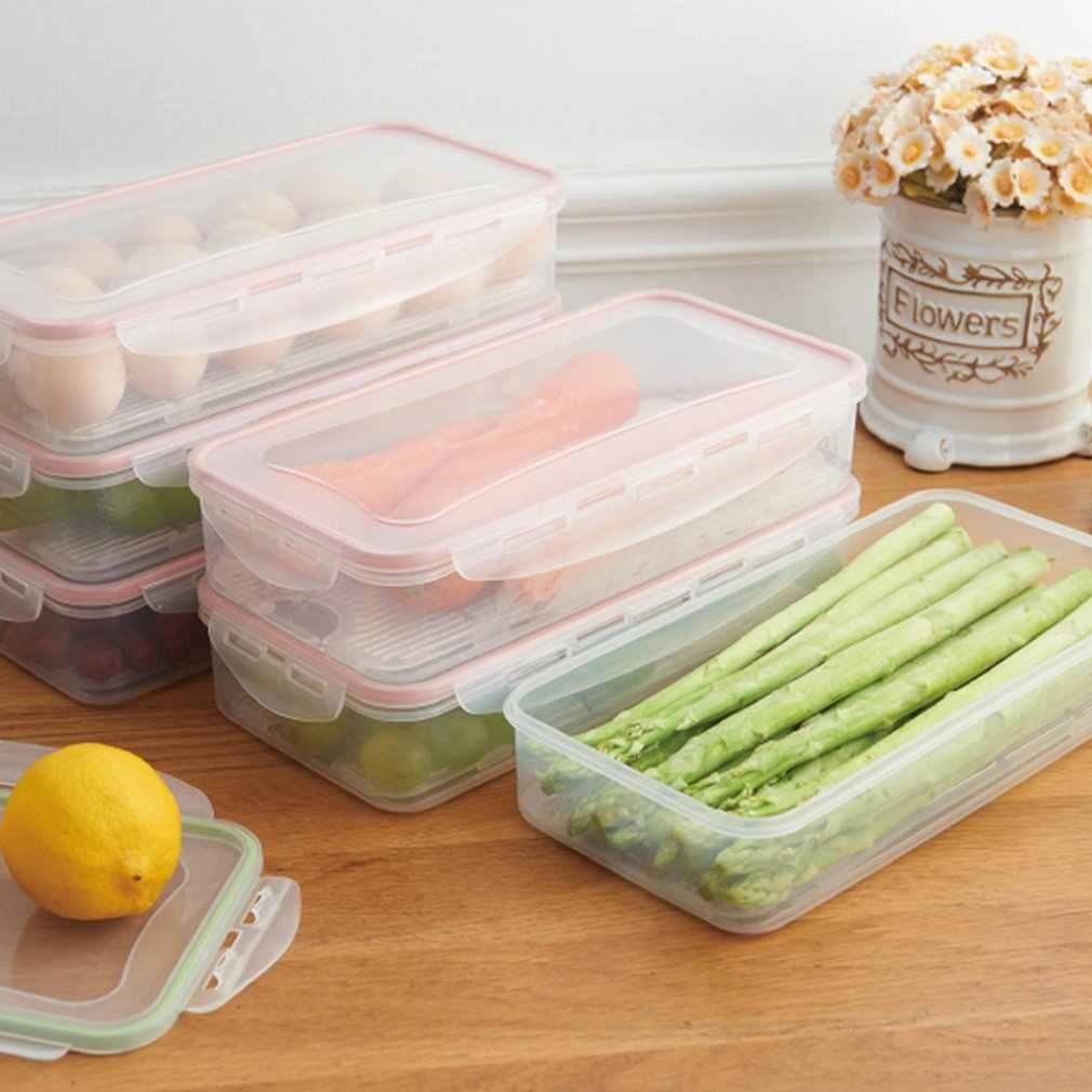 Refrigerador de cozinha retangular selado caixa fresca com tampa recipiente de alimentos caixa de armazenamento de drenagem casa gadgets