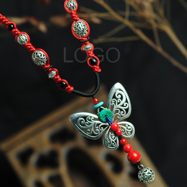New Arrival Knitted Necklace with Sliver Hollow Out Butterfly +Stone Beads as Pendant
