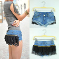 New 2016 Summer Sexy Female Shorts Low Waist Lace Jeans Super Short Skinny Denim Pants Fashion Boot Cut 9892 Free Shipping