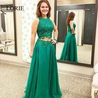 Plus Size Emerald Green Long Prom Dresses 2 Piece 2017 Robe De Soiree Lace Appliques Formal