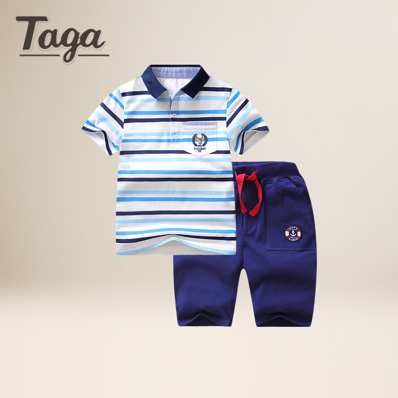 TAGA Baby boys Outfit 2pcs Set Children Suit Tops and Pants boys polo shirts+shorts clothes kids clothes set children's clothes 2017 new 2pcs set children clothes set kids baby boys long sleeve t shirt tops harem pants clothes outfit set 2 6y spring autumn