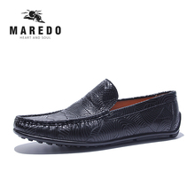 MAREDO men casual shoes stripe loafers male shoes Peas leather shoes