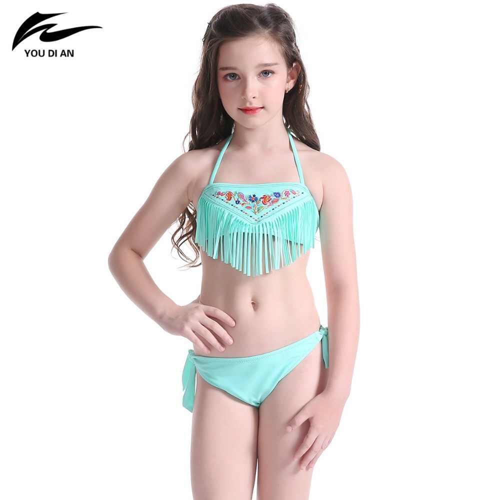 6b6faa36d3c Traje de baño para niños borla encantadora para niña ropa de baño patrón de  playa traje de baño Halter vendaje traje de baño zwemkleding ...