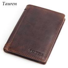Vintage Purse Designer 100% Carteiras Masculinas Cowhide Genuine Leather Men Short Wallet Card Holder Coin Pocket Male Wallets