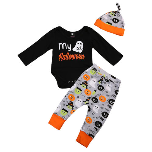 3Pcs Toddler Baby Boy Girl Halloween Tops Romper Pants Hat Outfits Set Clothes 2017 Baby Clothing