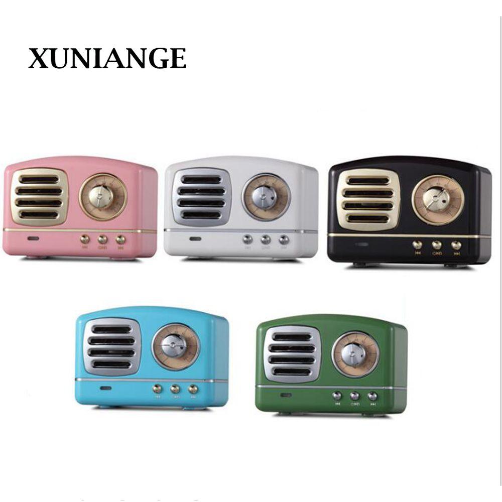 XUNIANG retro bluetooth audio mini portable U disk TF card high quality aluminum alloy with FM Bluetooth small speaker
