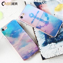 CASEIER Patterned Phone Case For iPhone 7 Plus Soft Silicone TPU Cases 8 Blue-Ray Luxury Sky Capinha Funda Capa