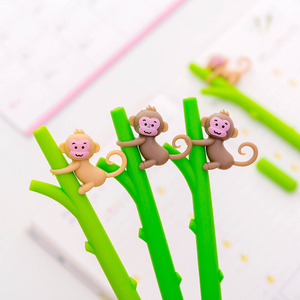 4 Pcs Cartoon Monkey Gel Pen Cute Banana 0.5mm Ballpoint Black Color Pens Stationery Office Accessories School Supplies Eb748 Gel Pens