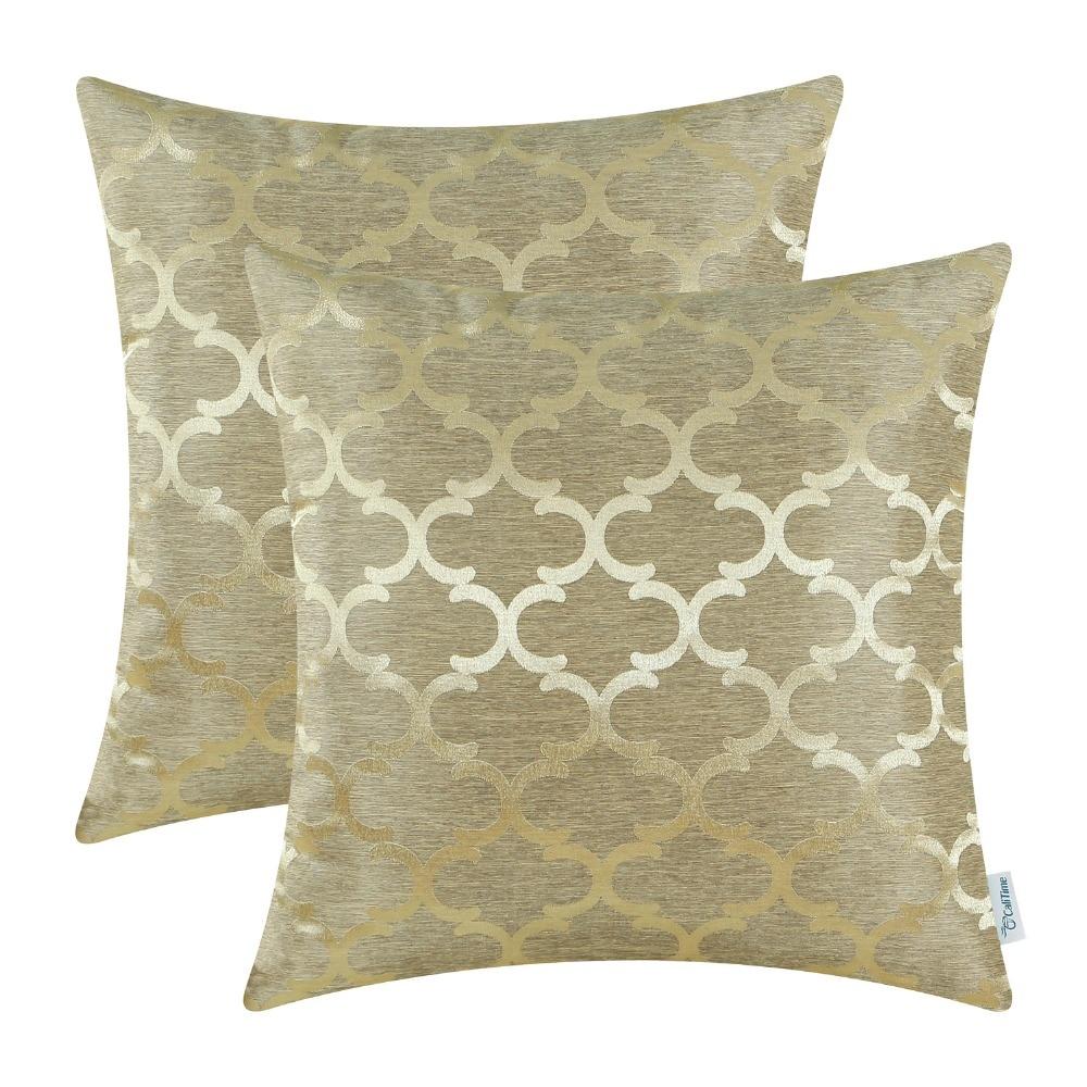 2PCS CaliTime Cushion Covers Pillows Shell Quatrefoil Accent Geometric 18 X 18(45cm X 45cm) Gold
