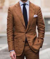 2018Latest Coat Pant Designs Brown linen men suit Summer beach jacket smart casual business suit tailor made blazer jacket+pants