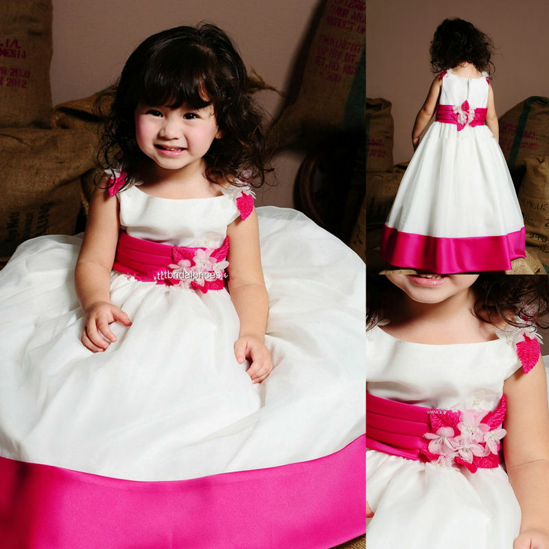 Flower Girl Dresses For Weddings Kid Dress Wedding Flowergirl Gown Scoop A Line Floor Length Fushia And White Cape Sleeve In From