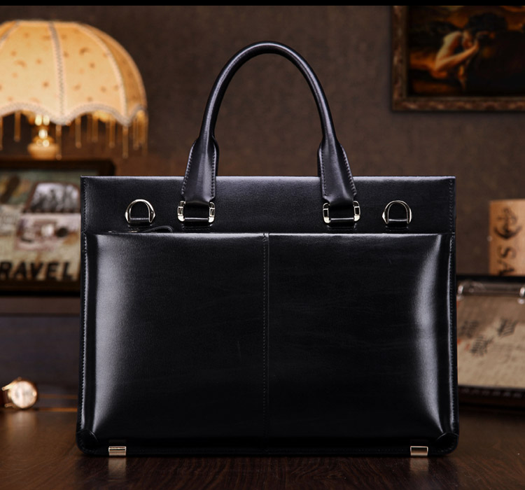 teemzone Herren 100% Echtes Leder High End Business Aktentasche Messenger Laptop Tasche Attache Bag Braun Attache Portfolio T0650