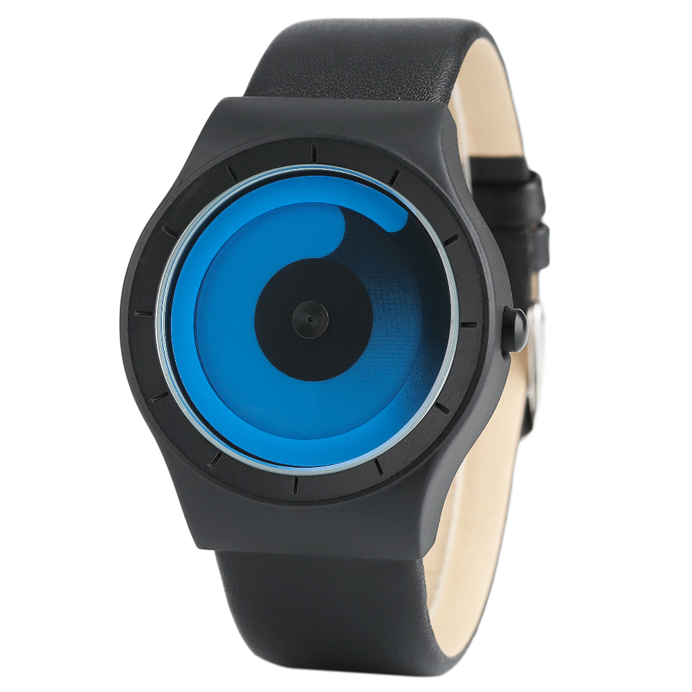 Creatieve dameshorloges Blue Swirl Pointer Lederen band Business Casual Quartz horloge Herenmode Klok Kerstcadeau 2018 Nieuw