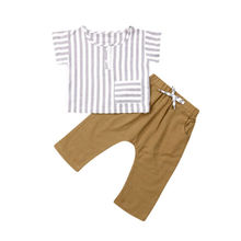 Summer Toddler Ramie Cotton Fabric vertical stripes Kids Baby Boy Tops T-shirt+Pants Casual Outfit 2PCS Clothes 9M-3Y