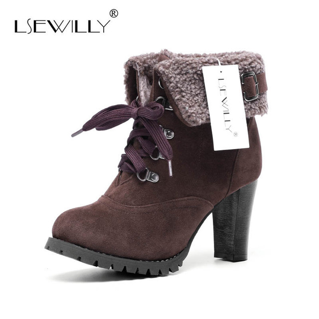 Lsewilly ankle boots Faux Fur Suede Lace Chunky Thick Heel Women Ankle  Boots Fashion Casual High