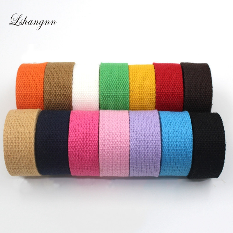 Lshangnn 25mm 46 yards reel Canvas Ribbon Belt bag Webbing Lable Ribbon Bias Binding Tape Diy