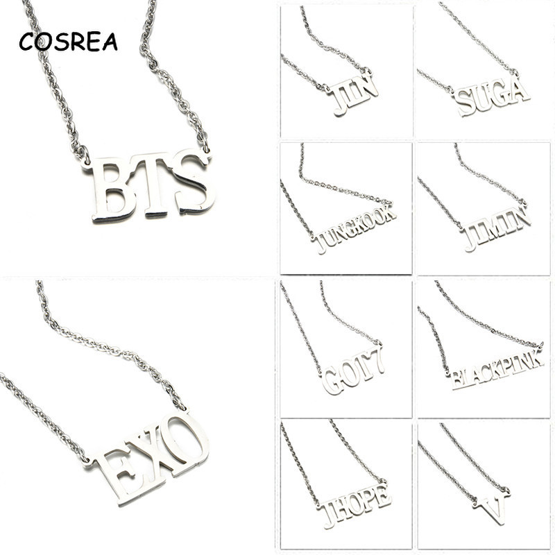 Exo Necklace Kpop Bts Necklace Choker Necklace Got7 JIMIN TWICE JIN Titanium Steel Pendant Necklace Clothes Accessories Jewelry