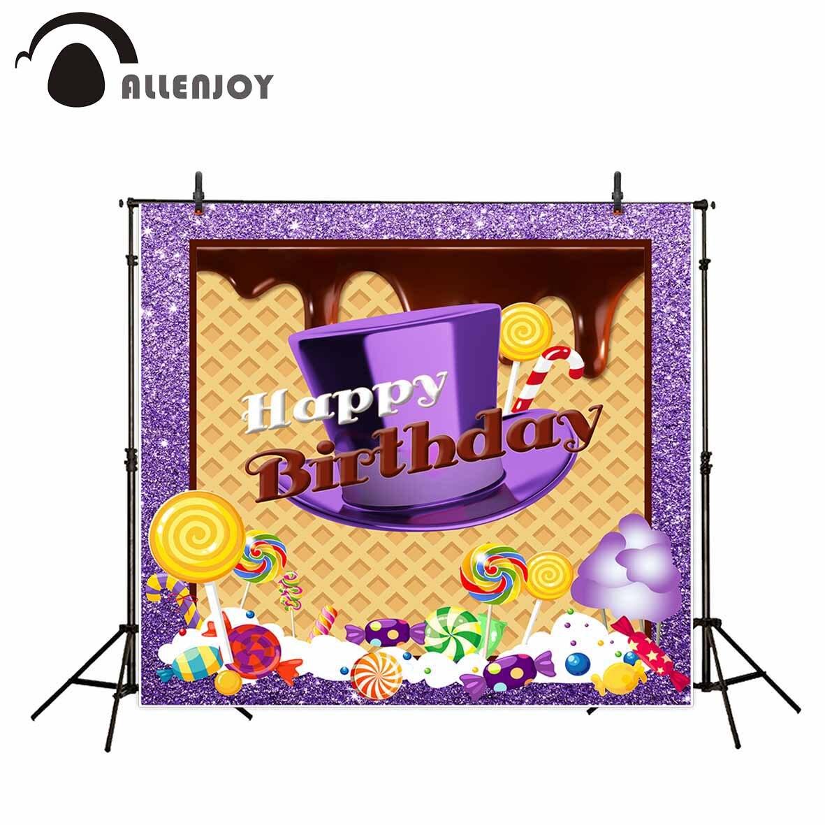 Allenjoy fotografia sfondo Viola di cortesia muffin candy Compleanno a tema sfondo studio fotografico nuovo disegno della macchina fotografica fotografica
