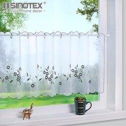 Zasłona kuchenna Fashion Cafe kwiatowy haft bawełna styl wiejski mała kawiarnia kurtyna dla dekoracja kuchenna 1 sztuk|cafe curtains|cafe style curtainscurtains for -