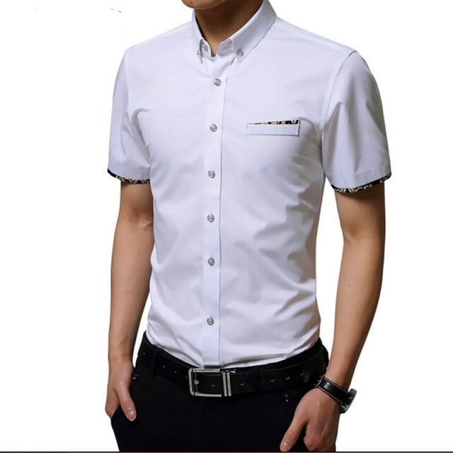 Casual Wit Overhemd.Zomer Business Casual Man Shirt 100 Katoen Mannen Formele Kleding