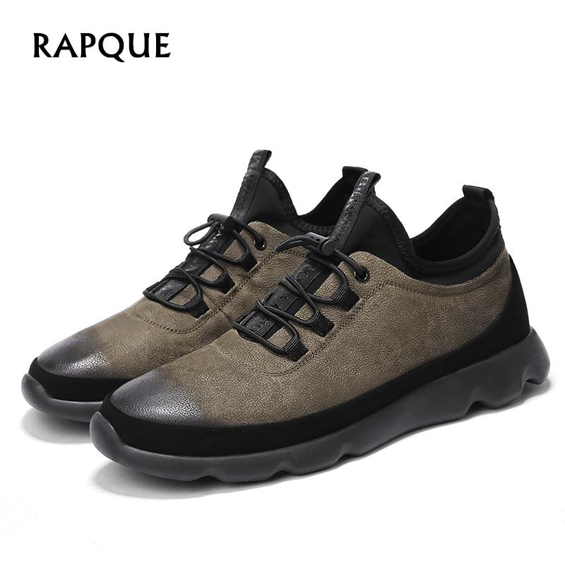 Herre casual sko Læder ægte Mænds lejligheder blonder-Up solid - Mænds sko
