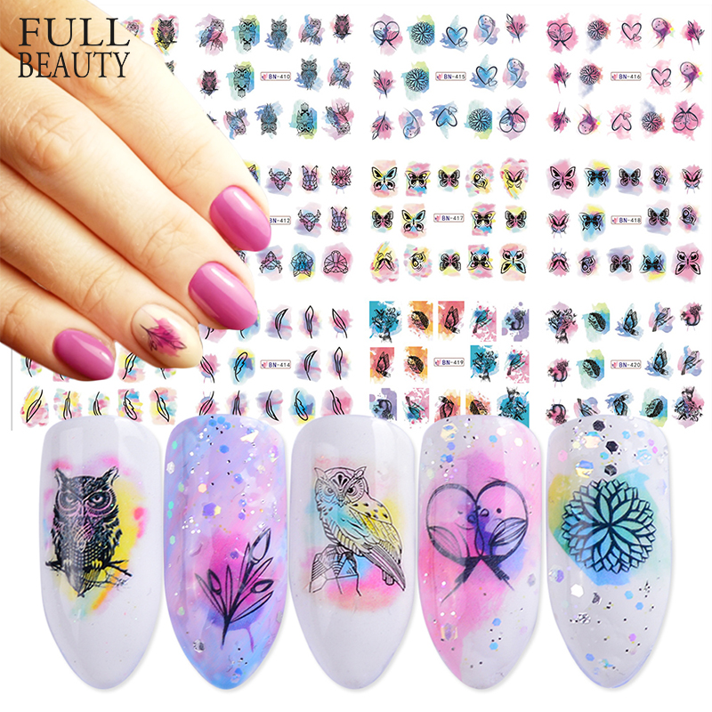 12 Design Watercolor Nail Sticker Decals DIY Owl Feather Flower Slider Tattoos Manicure Wraps for Nail Art Decoration BN409 1200-in Stickers & Decals from Beauty & Health
