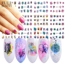 12 Design Watercolor Nail Sticker Decals DIY Owl Feather Flower Slider Tattoos Manicure Wraps for Nail Art Decoration BN409 1200