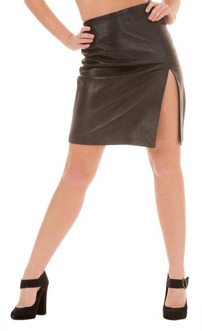 Women Sexy Side Slit Micro Mini Skirts Black Leather Skirt