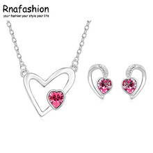 2017 Fashion Silver Plated Jewelry Sets For Women Crystal Heart Necklace Earrings Jewellery