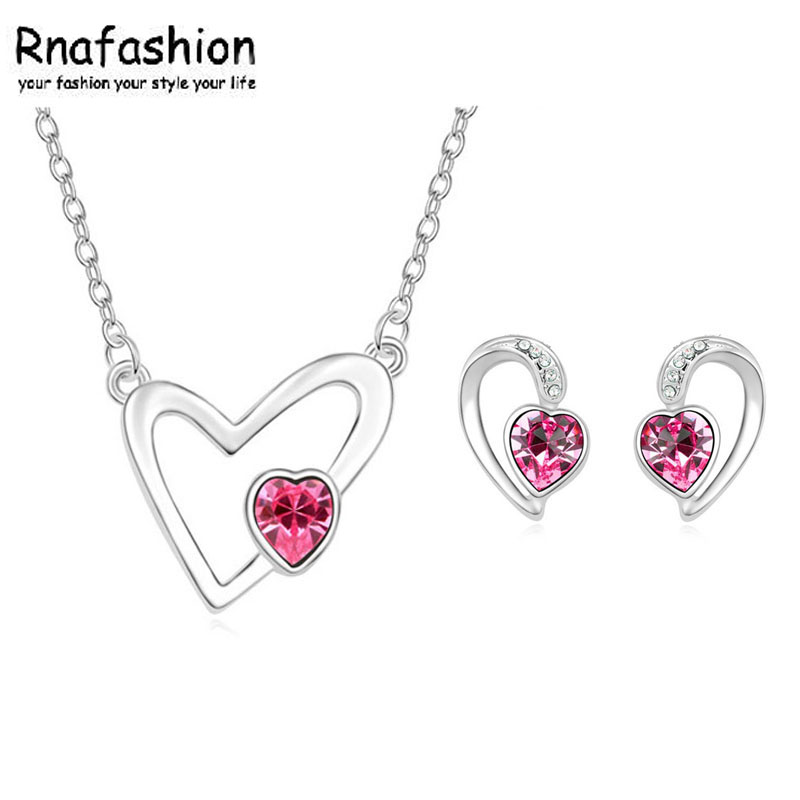 2017 Fashion Silver Plated Jewelry Sets For Women Crystal Heart Necklace Earrings Jewellery Set Bridal Wedding Accessories