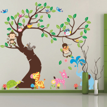 Decorative large tree wall sticker animal for kids rooms cartoon monkey elephant nursery decals cute baby bedroom wallpaper