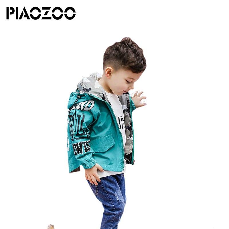Hooded Boys Jackets 2sides Sport Camo Coats For Baby Boys Outerwears 2-6Y Children's Jackets Autumn Outdoor Windbreak jacket boys letter print camo hooded jacket