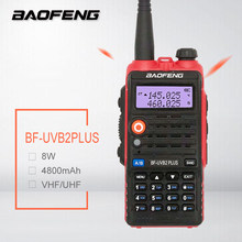BAOFENG BF-UVB2 PLUS Red Walkie Talkie 8W 4800mAh Dual Band VHF UHF Amateur Transceicver Ham CB Radio Station Scanner рация UV5R(China)