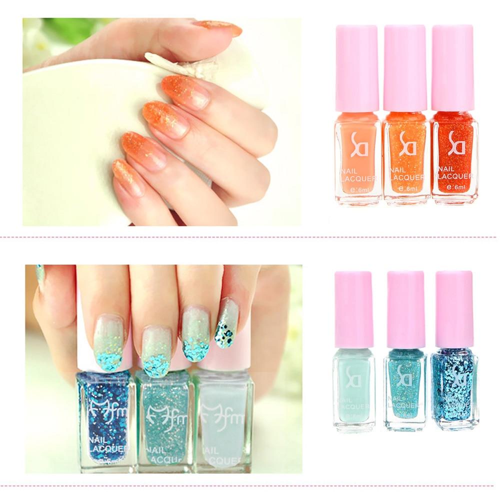 Hot Sale Magic Three color Gradient Nail Polish Set Environmental ...